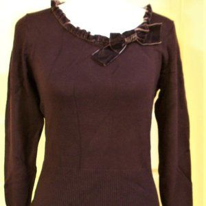 Peck & Peck Medium Petite Dark Plum Knit Top NWT